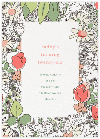 Petit Jardin - Coral - Anthropologie - Adult Birthday Invitations