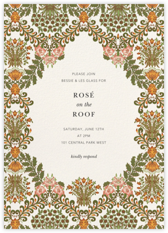 Floral Damask - Oscar de la Renta - Summer Party Invitations