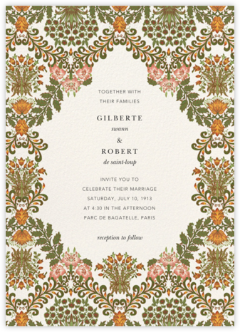 Floral Damask (Invitation) - Oscar de la Renta - Wedding Invitations