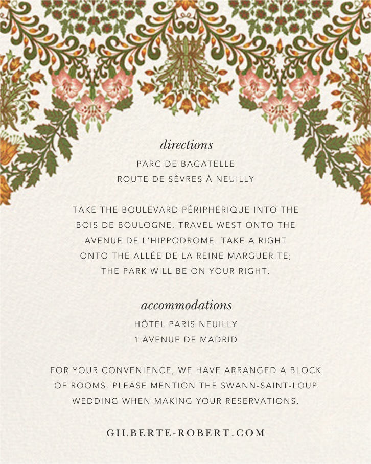 Floral Damask (Invitation) - Oscar de la Renta - All - insert front