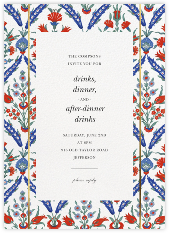 Ottoman Floral - White - Oscar de la Renta - Summer Party Invitations