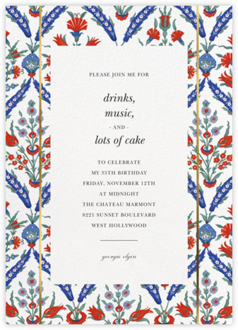 Ottoman Floral - White - Oscar de la Renta - Adult Birthday Invitations