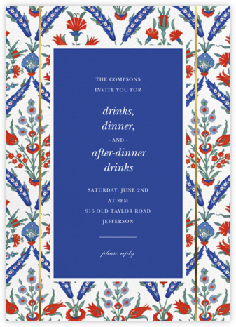 Ottoman Floral - White/Lapis - Oscar de la Renta - Summer entertaining invitations