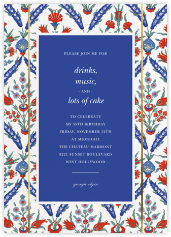 Ottoman Floral - White/Lapis - Oscar de la Renta - Adult Birthday Invitations