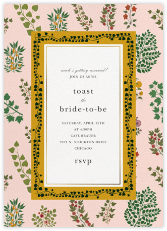 Pressed Greenery - Meringue - Oscar de la Renta - Bridal shower invitations