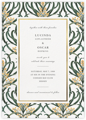 Flowering Mimosa (Invitation) - White - Oscar de la Renta -