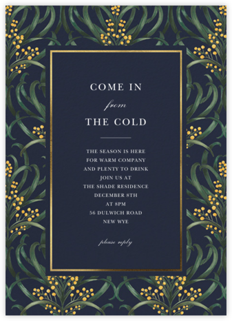 Flowering Mimosa - Navy - Oscar de la Renta - Winter entertaining invitations