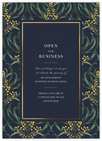 Flowering Mimosa - Navy - Oscar de la Renta - Launch Party Invitations