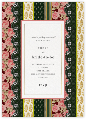 Patchwork Stripe - Oscar de la Renta - Bridal shower invitations