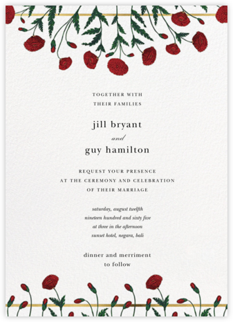 Pressed Poppies (Invitation) - Oscar de la Renta - Wedding Invitations