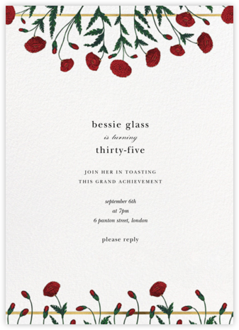 Pressed Poppies - Oscar de la Renta - Adult Birthday Invitations