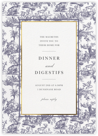 Toile de Joy - Navy - Oscar de la Renta - Winter entertaining invitations