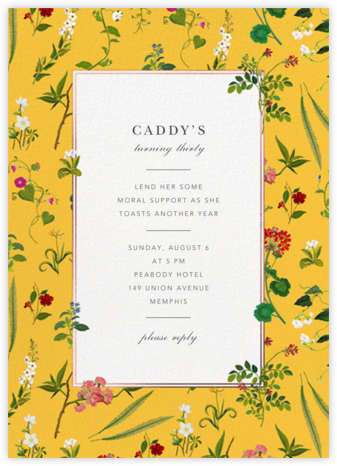 Wildflower Cuttings - Mustard - Oscar de la Renta - Adult Birthday Invitations