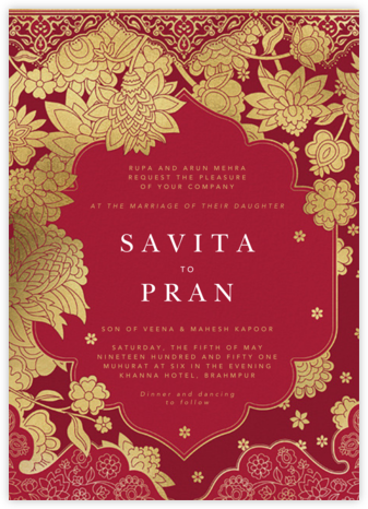 Sanganeri (Invitation) - Crimson - Paperless Post - Indian Wedding Cards