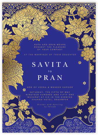 Sanganeri (Invitation) - Indigo - Paperless Post - Wedding Invitations