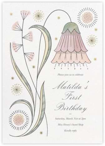 May Belle (Invitation) - Tea Rose - Paperless Post - First Birthday Invitations