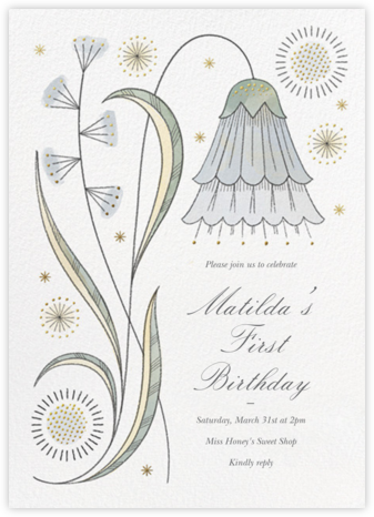 May Belle - Gray Green - Paperless Post - First Birthday Invitations