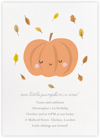 Little Pumpkin - Little Cube - Online Kids' Birthday Invitations