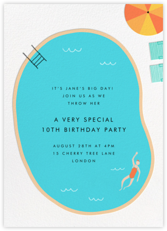 Maude's Pool - Paperless Post - Online Kids' Birthday Invitations