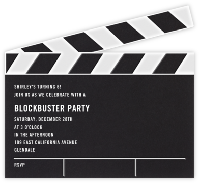 Movie Clapper - Paperless Post - Online Kids' Birthday Invitations