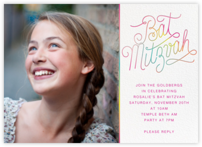 Neon Bat Mitzvah (Photo) - Paperless Post - Bat and Bar Mitzvah Invitations
