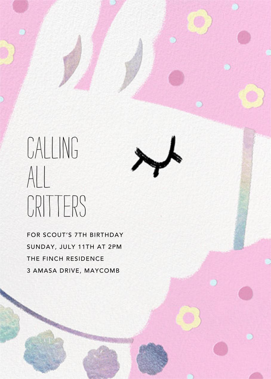Llama Party - Carnation - Paperless Post - Kids' birthday invitations