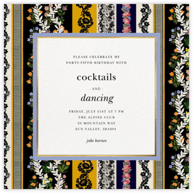 Jacquard Stripe - Oscar de la Renta - Adult Birthday Invitations