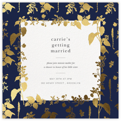 Stamped Greenery - Navy - Oscar de la Renta - Bridal shower invitations