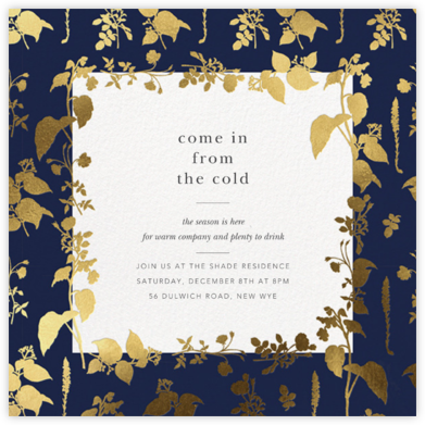 Stamped Greenery - Navy - Oscar de la Renta - Winter Party Invitations