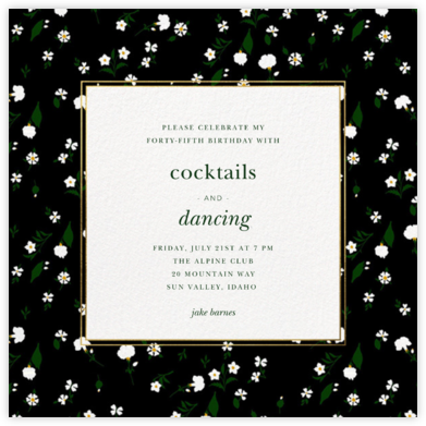 Tossed Daisies - Oscar de la Renta - Adult Birthday Invitations