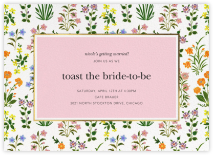 Wildflower Calico - White/Blossom - Oscar de la Renta - Bridal shower invitations