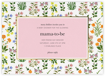 Wildflower Calico - White/Blossom - Oscar de la Renta - Baby Shower Invitations