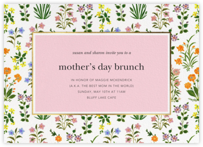 Wildflower Calico - White/Blossom - Oscar de la Renta - Online Mother's Day invitations