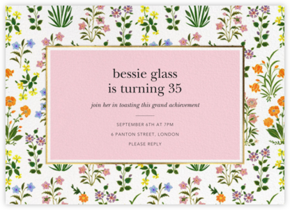 Wildflower Calico - White/Blossom - Oscar de la Renta - Adult Birthday Invitations