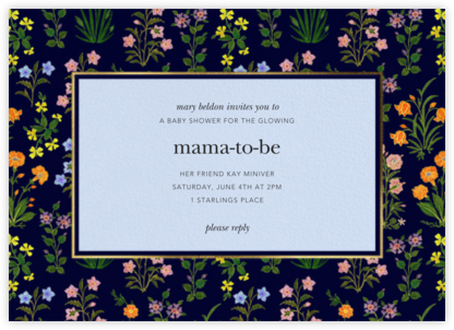 Wildflower Calico - Navy/Tundra - Oscar de la Renta - Baby Shower Invitations