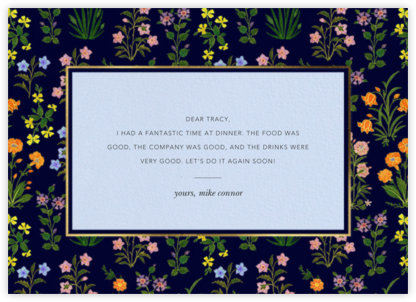 Wildflower Calico - Navy/Tundra - Oscar de la Renta - Online Thank You Cards
