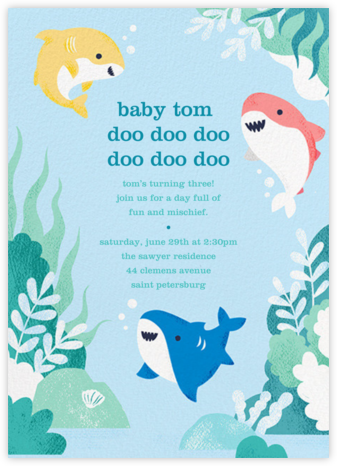 Shark Your Calendar - Paperless Post - Kids' birthday invitations