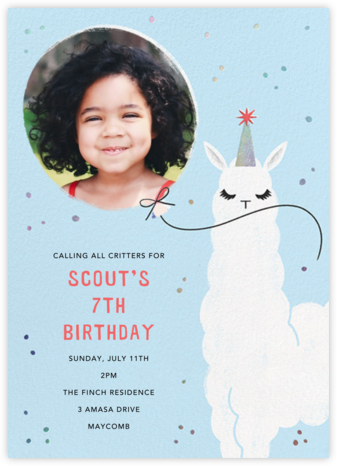 Llamacorn - Paperless Post - Kids' birthday invitations