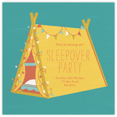 Sleepover Camp - Mustard - Paperless Post - Online Kids' Birthday Invitations