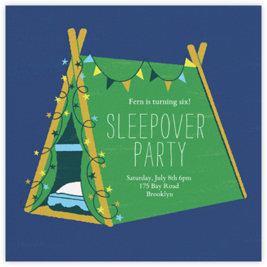 Sleepover Camp - Emerald - Paperless Post - Online Kids' Birthday Invitations