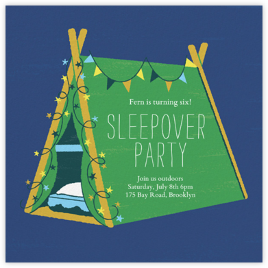 Sleepover Camp - Emerald - Paperless Post - Birthday invitations