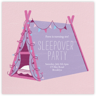 Sleepover Camp - Lavender - Paperless Post - Online Kids' Birthday Invitations