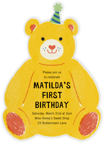 Beary Fun Birthday - Paperless Post - First Birthday Invitations