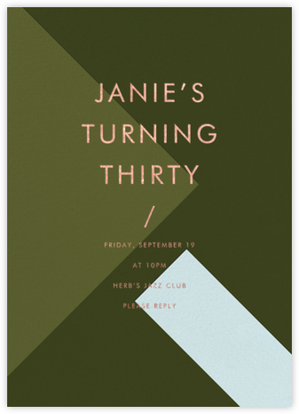 All Angles - Olive - Paintbox - Adult Birthday Invitations