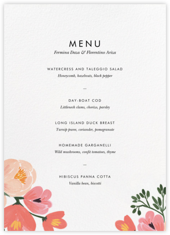 Pastel Petals (Menu) - Rifle Paper Co. - Wedding menus and programs - available in paper