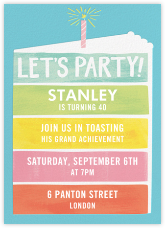 Rainbow Cake - Paper Source - Adult Birthday Invitations