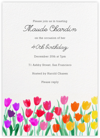 Rainbow Tulips - Paper Source - Adult Birthday Invitations