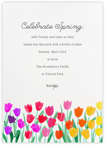 Rainbow Tulips - Paper Source - General Entertaining Invitations