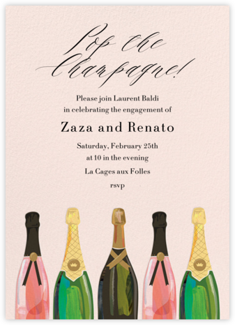 Pop the Champagne - Paper Source - Engagement party invitations