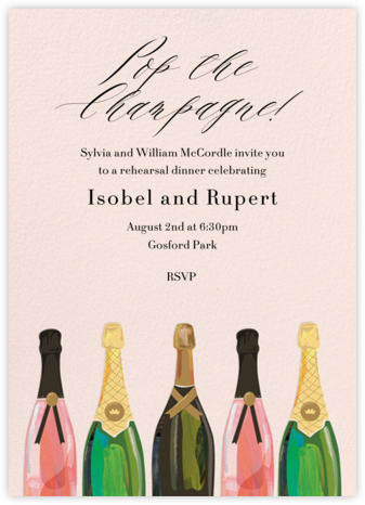 Pop the Champagne  - Paper Source - Wedding Weekend Invitations